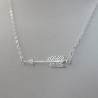 Sterling Silver Sideways Arrow Necklace