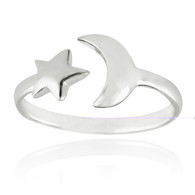 Crescent Moon and Star Ring - 925 Sterling Silver