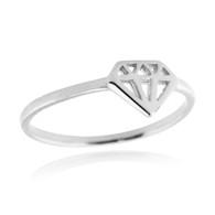Diamond Shape Ring - 925 Sterling Silver