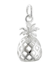 3D Pineapple Charm - 925 Sterling Silver