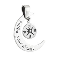 Follow Your Dreams Moon and Compass Necklace - 925 Sterling Silver