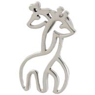 Hugging Giraffes Charm - 925 Sterling Silver