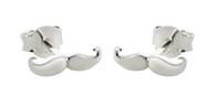 Mustache Earrings - Sterling Silver Post Earrings