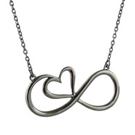 Sterling Silver Black Infinity Heart Necklace