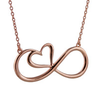 Infinity Heart Necklace - 925 Sterling Silver with Rose Gold