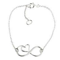 Sterling Silver Infinity Heart Bracelet