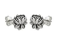 Lotus Flower Earrings - Sterling Silver Post Earrings