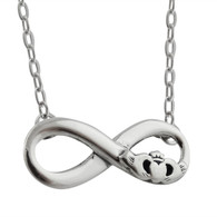 Infinity Necklace with Claddagh - 925 Sterling Silver