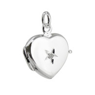 Heart Locket with 1 Point Diamond - 925 Sterling Silver