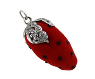 Strawberry Pin Cushion Collectible - 925 Sterling Silver