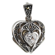Marcasite Heart Locket with CZ - 925 Sterling Silver