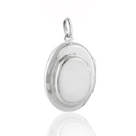 Oval Double 4-Photo Locket - 925 Sterling Silver
