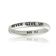 NEVER GIVE UP Engraved Stacking Ring - 925 Sterling Silver