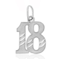 Eighteen 18 Number Charm - 925 Sterling Silver