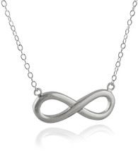 Infinity Necklace with Attached Chain - 925 Sterling Silver