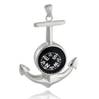 Anchor Pendant with Working Compass - 925 Sterling Silver