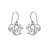 Squirrel Outline Dangle Earrings - 925 Sterling Silver