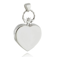 Heart Locket with Claddagh - 925 Sterling Silver