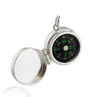 Working compass locket charm pendant - 925 Sterling silver