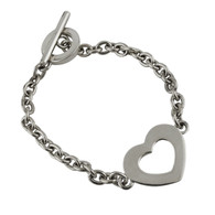 Heart Bracelet - 925 Sterling Silver - Rolo Chain Toggle Clasp