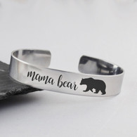 Mama Bear Cuff Bracelet - Stainless Steel Cuff