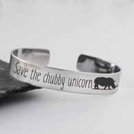 Save the Chubby Unicorn Cuff Bracelet - Stainless Steel