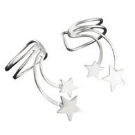 Sterling Silver Shooting Stars Ear Cuff Earrings, 1 Pair No piercing Slide on