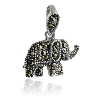 Sterling Silver Marcasite Elephant Pendant