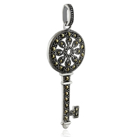 Sterling Silver Marcasite Skeleton Key Pendant