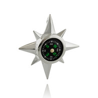 Sterling Silver North Star Real Working Compass Pendant
