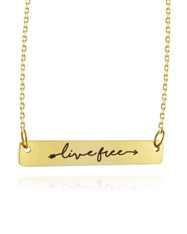 """Live Free Bar 18"""" Necklace - Gold Stainless Steel"""
