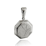 Etched Octagon Locket Necklace - 925 Sterling Silver