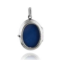Double Sided Photo Frame Charm - 925 Sterling Silver - Oval Pendant