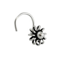 Wire Flower Nose Stud with 22g Nostril Screw - 925 Sterling Silver