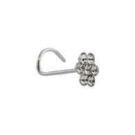 Flower CZ Nose Stud with 22g Nostril Screw - 925 Sterling Silver (7 stones)