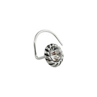 CZ Disk Nose Stud with 22g Nostril Screw - 925 Sterling Silver