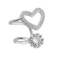 Heart Ear Cuff Earrings - 925 Sterling Silver - 1 Pair