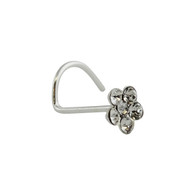 Tiny Flower CZ Nose Stud with 22g Nostril Screw - 925 Sterling Silver