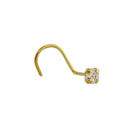 Tiny Gold Plated Round CZ Nose Stud - 925 Sterling Silver