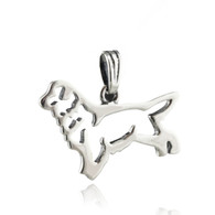 Golden Retriever Dog Outline Pendant - 925 Sterling Silver