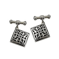Square Celtic Trinity Knot Cuff Links - 925 Sterling Silver One Pair