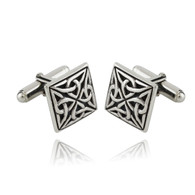Square Celtic Cuff Links - 925 Sterling Silver - Trinity Knot Mens Cufflinks NEW