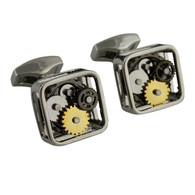 Steampunk Clockwork Cuff Links, Square - Stainless Steel