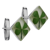 Real Four Leaf Clover Cuff Links - 925 Sterling Silver
