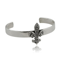 Fleur-de-lis Cuff Bracelet - 925 Sterling Silver - Bangle