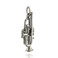 Trumpet Charm - 925 Sterling Silver 3D Pendant