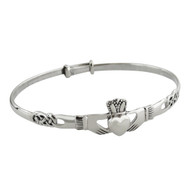 Irish Claddagh Bangle Bracelet - 925 Sterling Silver - Celtic Knot 64mm