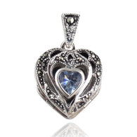 Marcasite Heart Locket - 925 Sterling Silver with CZ - Holds 3 Photos