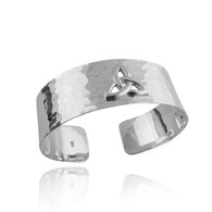 Hammered Trinity Triquetra Cuff Bracelet - 925 Sterling Silver