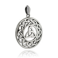 Celtic Trinity Knot Pendant - 925 Sterling Silver - Round Triquetra